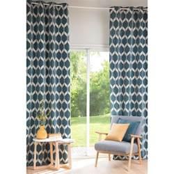 rideau motifs bleu p 233 trole 140x300cm aston maisons du monde