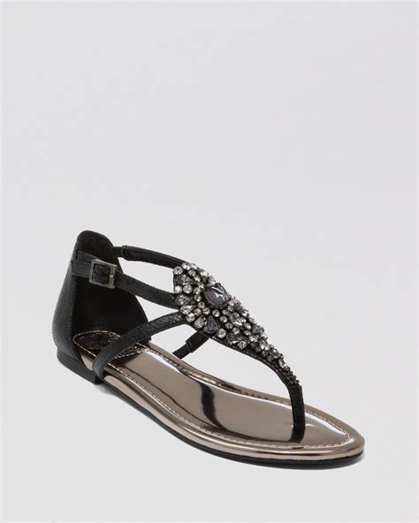 black flat sandals vince camuto sandals macalia jeweled flat in black lyst