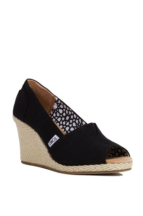 toms black canvas peep toe wedge sandals in black lyst