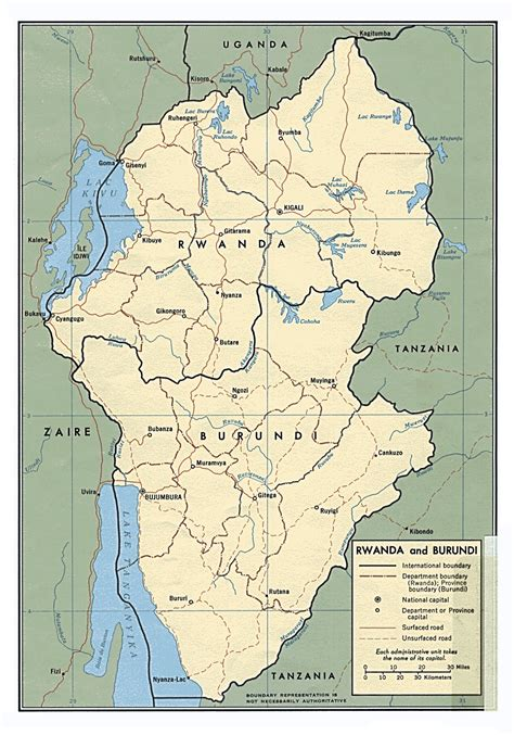 africa map burundi large political map of burundi and rwanda with roads and