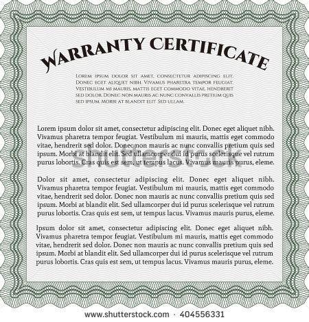 design warranty certificate sle warranty certificate artistry design vector stock