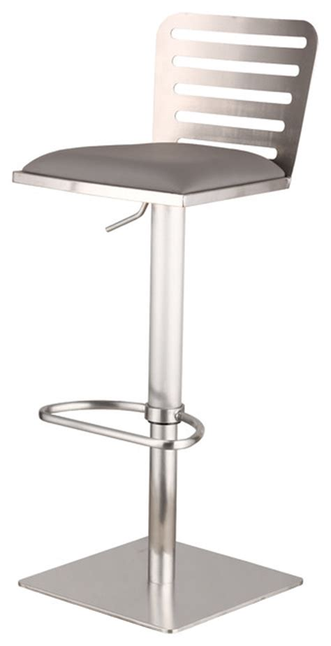 polished stainless steel counter stools delmar adjustable brushed stainless steel barstool in gray