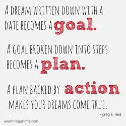 planning your dreams a dream written down with a date becomes a goal a by greg