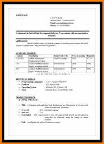Resume Formats In Ms Word 6 Simple Resume Format For Freshers In Ms Word Janitor