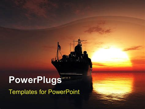 themes for powerpoint ship powerpoint template military ship in the sea with sunset