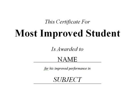 most improved student certificate 2 free templates