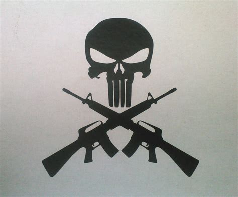 crossed guns tattoo punisher skull and cross guns ar15 m16 6 quot t vinyl decal or