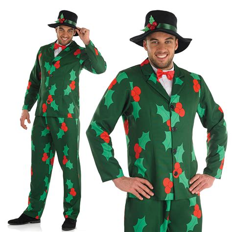 mens christmas suit fancy dress costume holly berries