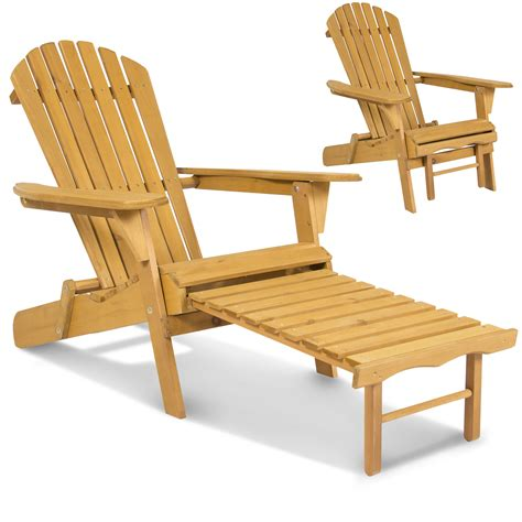 Outdoor Adirondack Wood Chair Foldable w/ Pull Out Ottoman