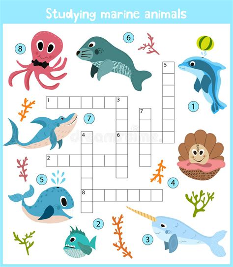 sea crossword a colorful children s crossword education for children on the theme of
