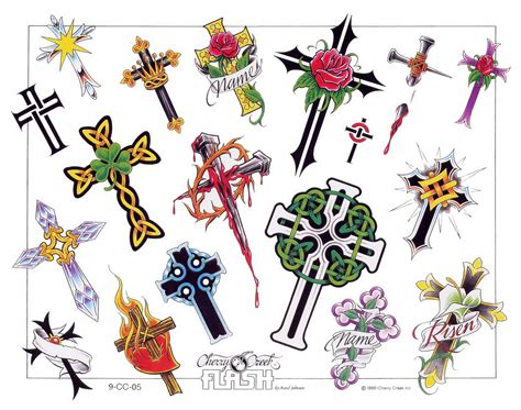 cross tattoo flash 18 blood colorful cross temporary designs
