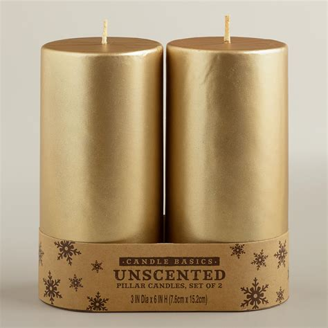 Furniture And Home Decor Stores 3x6 gold pillar candles 2 pack world market