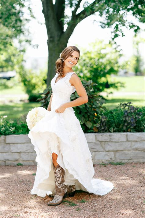 Wedding Dresses With Boots by Cowboy Boots And Weddings Magazine