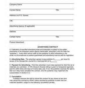basic agreement template advertising contract template 12 free sles exles
