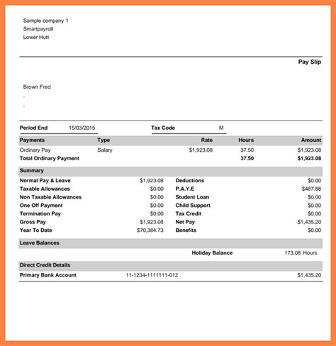 8 simple payslip exle salary slip