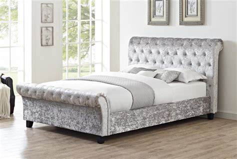 grey bed viewing casablanca hfe crushed velvet king size bed grey