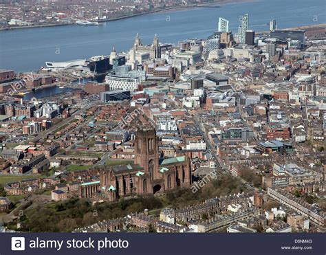 On Location High Liverpool by Aerial View Of Liverpool City On Merseyside In The Uk
