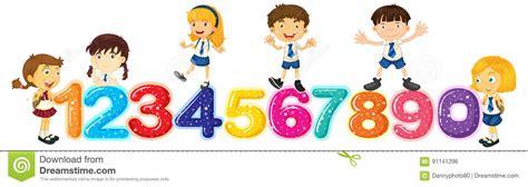 clipart numeri bambini contano i numeri uno zero illustrazione