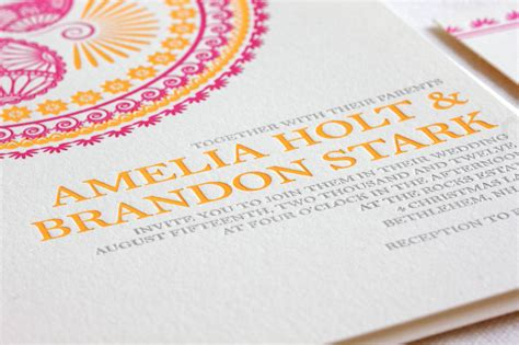Wedding Invitations Letterpress by Indian Pattern Letterpress Wedding Invitations