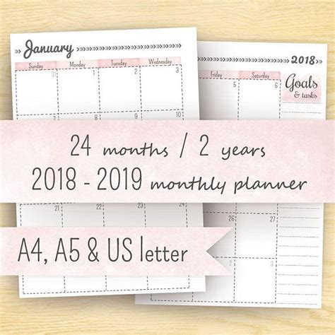 printable planner 2018 a5 2018 monthly planner printable planner 2018 2019 month on