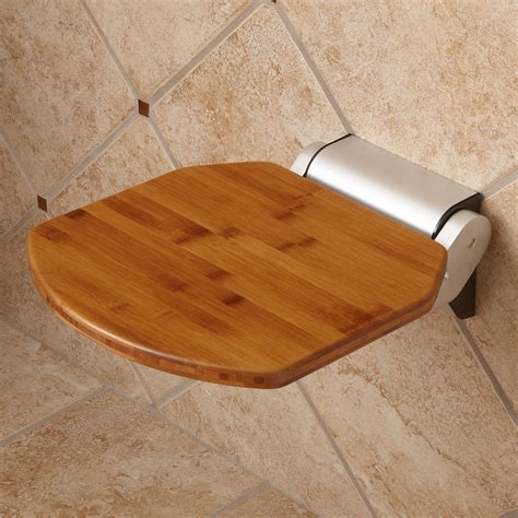 bamboo shower seat signature hardware solid bamboo folding shower seat ebay