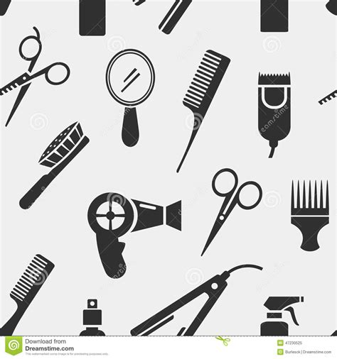 Hairstyle Tools Designs by Silhouette Hairdressing Tools In Seamless Pattern Stock
