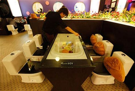 bathroom themed restaurant modern toilet restaurant in taiwan
