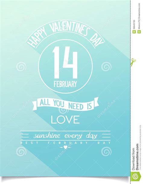 Flat Design Poster Vector | beautiful happy valentines day vector poster royalty free