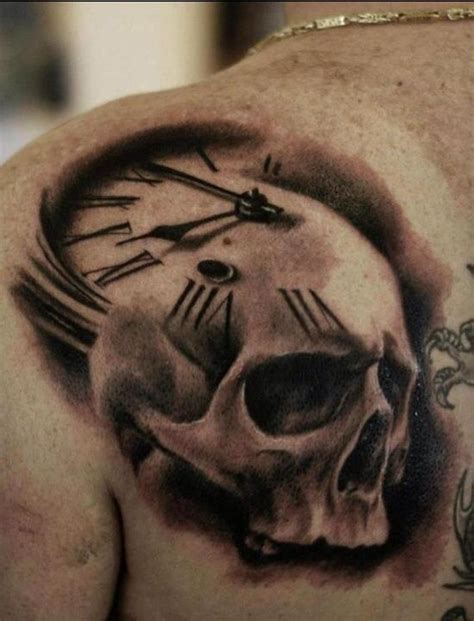 3d skull tattoo designs skull clock tattoos awesome clock