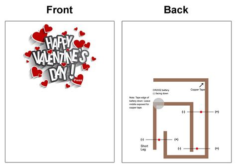 Paper Circuit Card Templates by Valentines Day Light Up Cards Stem Makerspace Project