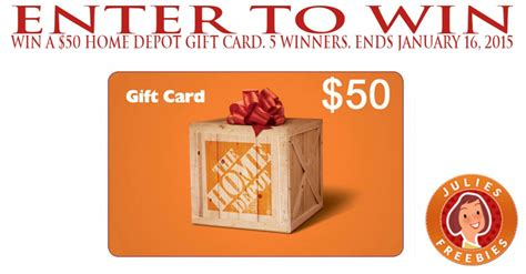 enter to win a 50 home depot gift card 5 winners