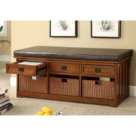 storage benches with baskets furniture of america doreen padded leatherette bench with