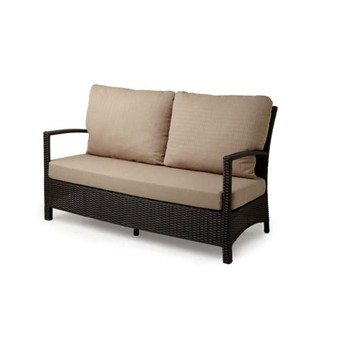 outdoor wicker loveseat belladonna resin wicker outdoor loveseat and cushion outdoor