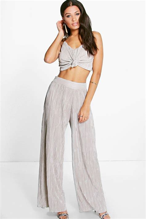 Sale Led 4 Sisi boohoo womens sisi knot top pleated wide leg co ord set