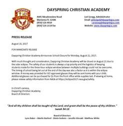 Closing Letter Christian Closure 8 16 2017 Dayspring Christian Academy