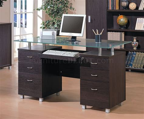 Office Desk Tops Espresso Finish Contemporary Office Desk W Glass Top