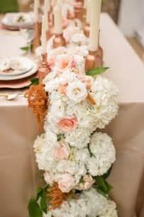 floral table runner flowers white gold