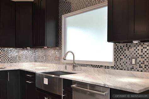 backsplash for kitchen with white cabinet espresso cabinet white countertop metal backsplash