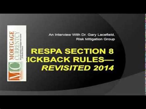 section 8 rules respa section 8 kickback rules re visited 2014 class
