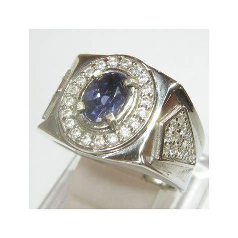 Cincin Nama Silver Pasir Model 2 cincin permata iolite untuk pria silver 925 ring 9us