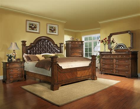 king size antique brown bedroom set wood  shipping  piece ebay