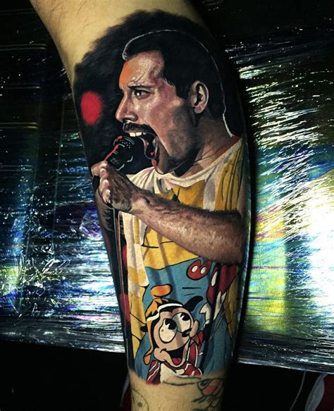 freddie mercury tattoo freddie mercury realism on guys leg best