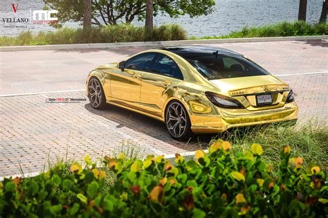 mercedes gold mercedes cls 63 amg makes gold wrap and vellano wheels