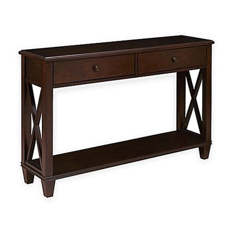 X Frame Console Table Pulaski Jonah X Frame 2 Drawer Console Table In Brown Bed Bath Beyond