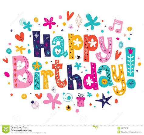 happy birthday text design for facebook happy birthday stock vector image 44170612