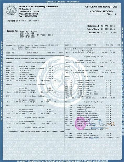 college transcript template official transcript template images
