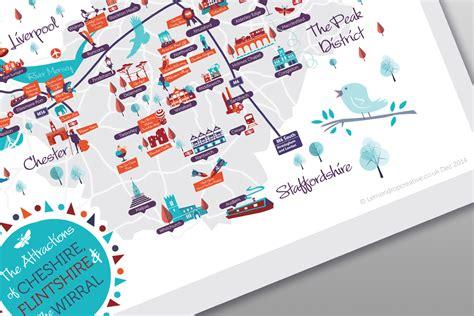 map layout graphic design cheshire flintshire wirral attractions map lemondrop