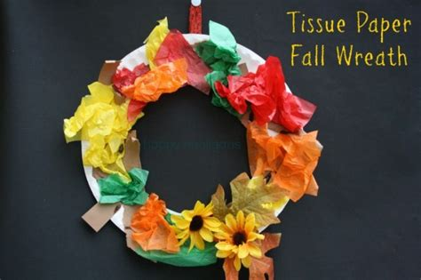 Construction Paper Crafts For Fall - tissue paper fall wreath happy hooligans