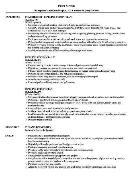 pipeline technician resume samples velvet jobs