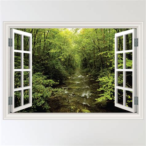 window wall stickers colour forest woodland river window wall sticker decal mural transfer ebay